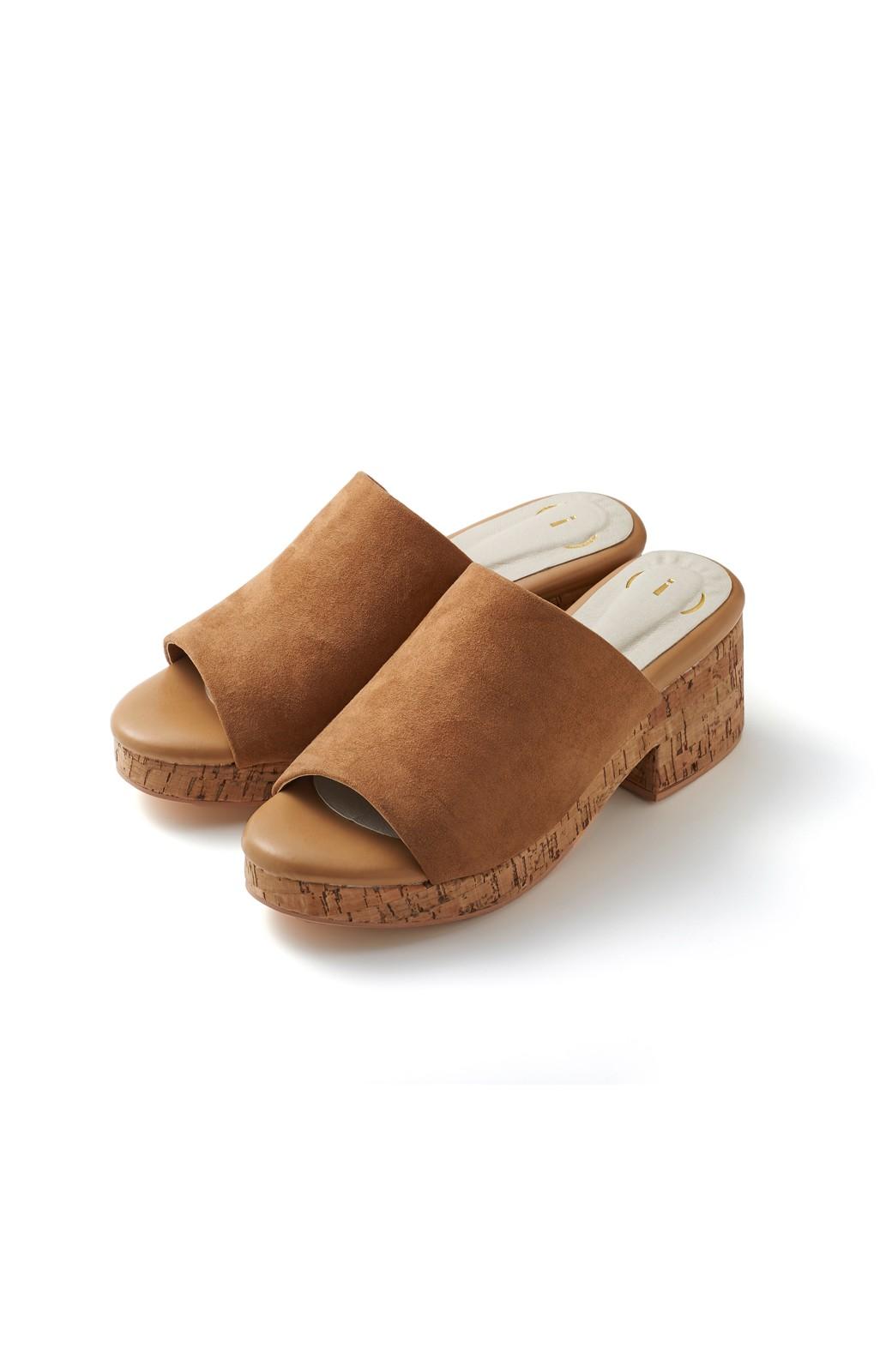 nusy 低&高反発で歩きやすい サボみたいにすぽっとはけるオープントゥサンダル <キャメル>の商品写真1