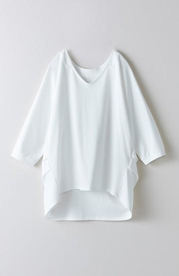 haco! 極上素材ディオラマシルキースムース うなじをきれいに魅せる シャツ風トップス <ホワイト>の商品写真