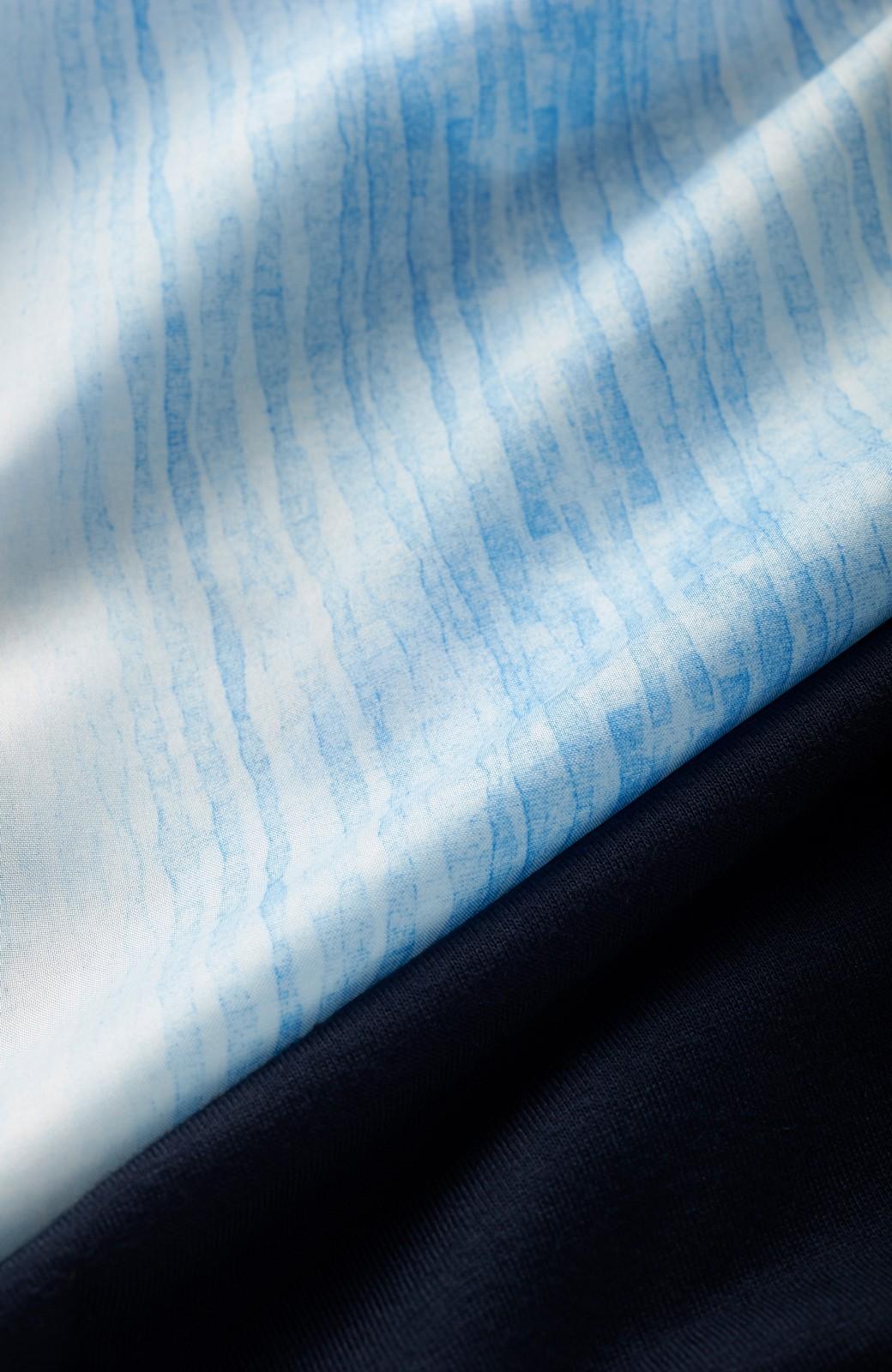 haco! UNICOLART SOMI 柄もの初心者にも安心な 無地カットソーと柄のリバーシブルワンピース <ブルー系その他>の商品写真2