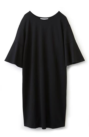 エムトロワ made in Japan 楽ちんきれいなラッフルスリーブワンピース <ブラック>の商品写真