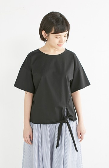 エムトロワ made in Japan すそリボンのレディTシャツ <ブラック>の商品写真