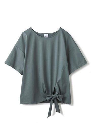 エムトロワ made in Japan すそリボンのレディTシャツ <カーキ>の商品写真