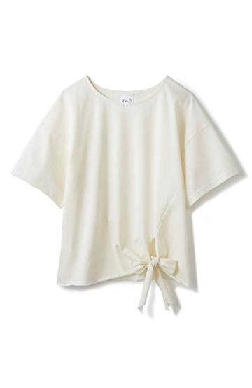 エムトロワ made in Japan すそリボンのレディTシャツ <アイボリー>の商品写真