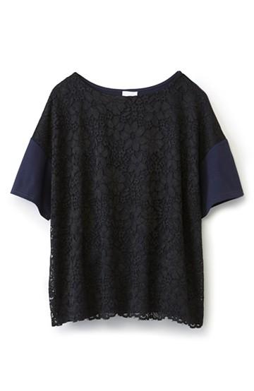 エムトロワ 気軽に大人かわいいレースTシャツ <ブラック×ブルー>の商品写真