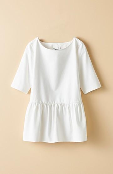 haco! 1枚で簡単に女らしくなれる、便利な異素材ペプラムTシャツ by que made me <ホワイト>の商品写真