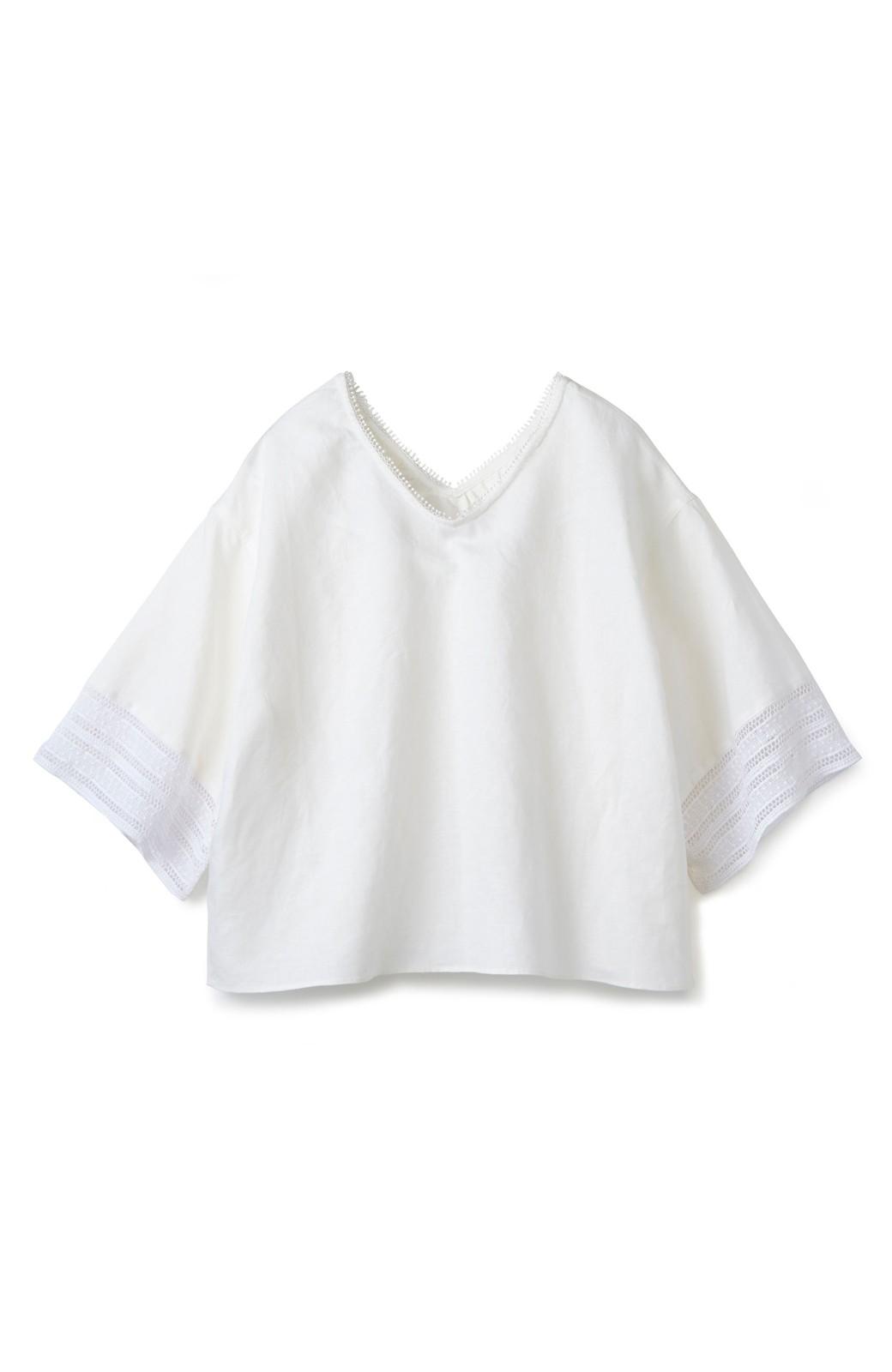 エムトロワ 着るほどになじむ 綿麻素材の袖レーストップス <ホワイト>の商品写真1