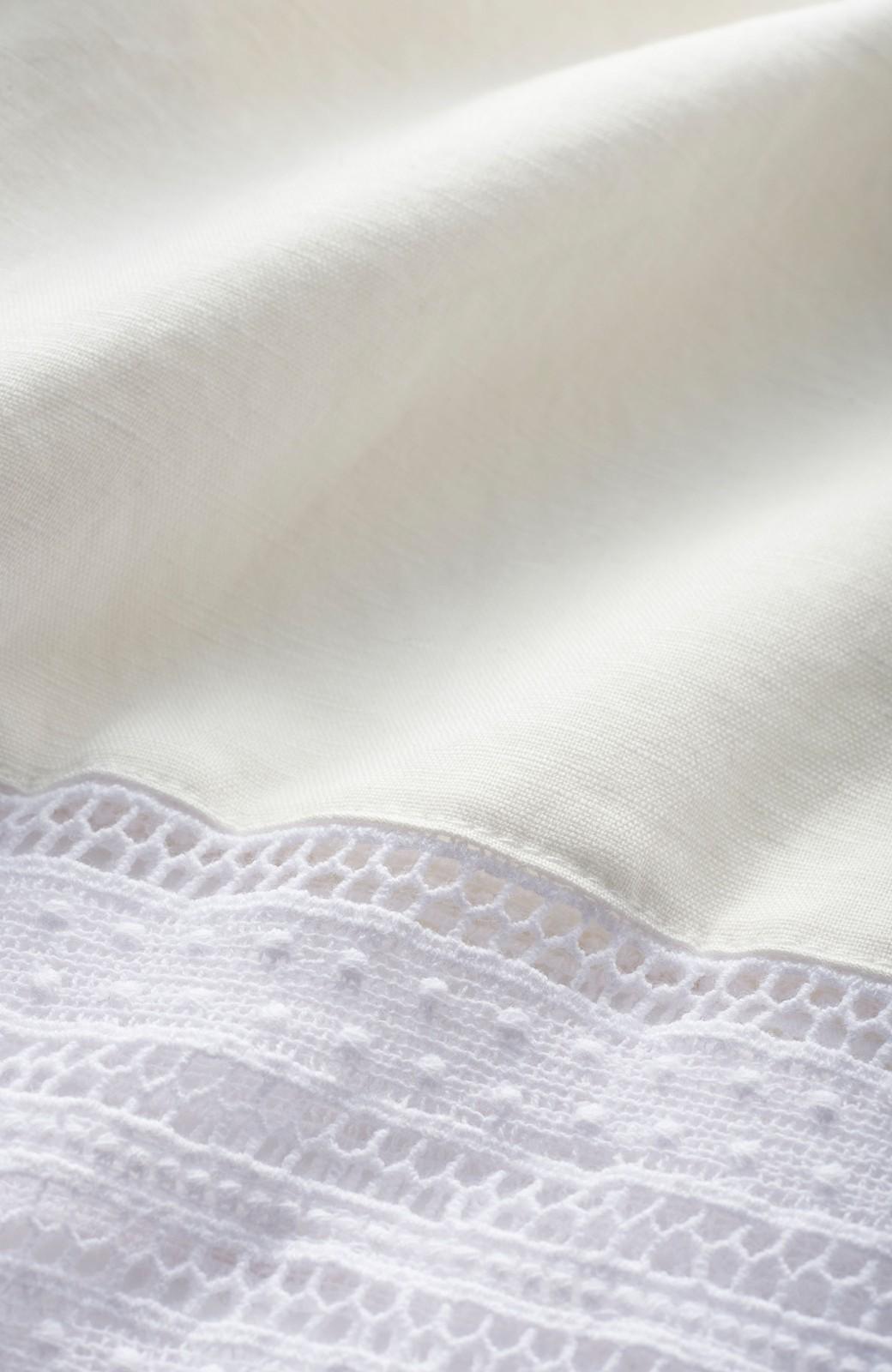エムトロワ 着るほどになじむ 綿麻素材の袖レーストップス <ホワイト>の商品写真2