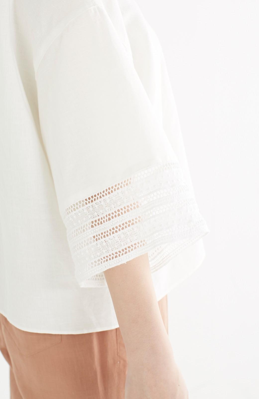 エムトロワ 着るほどになじむ 綿麻素材の袖レーストップス <ホワイト>の商品写真16