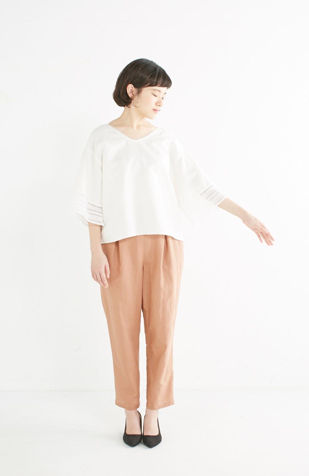 エムトロワ 着るほどになじむ 綿麻素材の袖レーストップス <ホワイト>の商品写真5