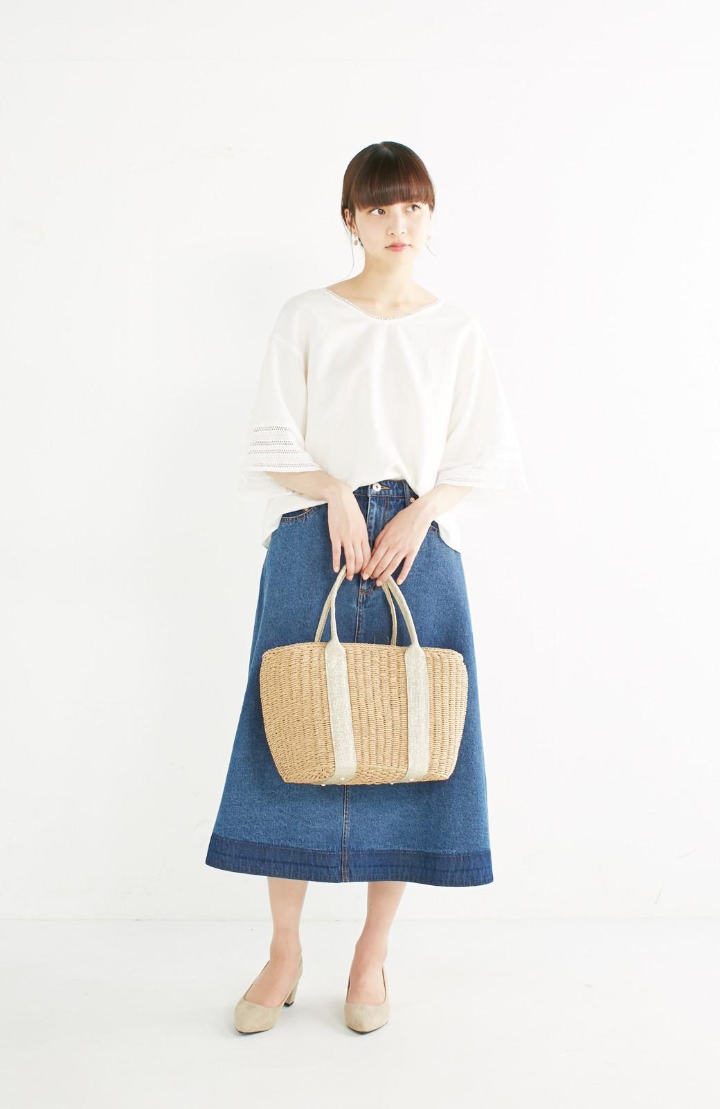 エムトロワ 着るほどになじむ 綿麻素材の袖レーストップス <ホワイト>の商品写真7