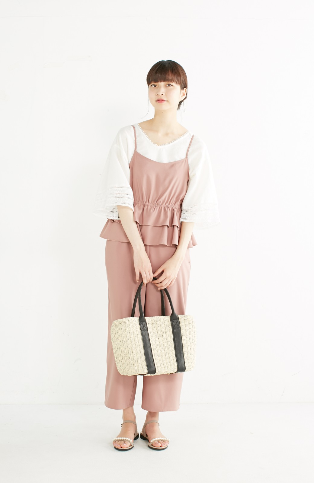 エムトロワ 着るほどになじむ 綿麻素材の袖レーストップス <ホワイト>の商品写真8