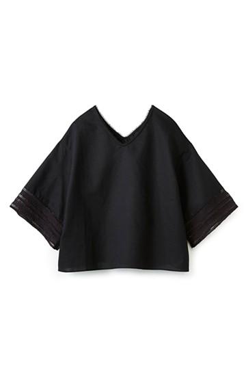 エムトロワ 着るほどになじむ 綿麻素材の袖レーストップス <ブラック>の商品写真