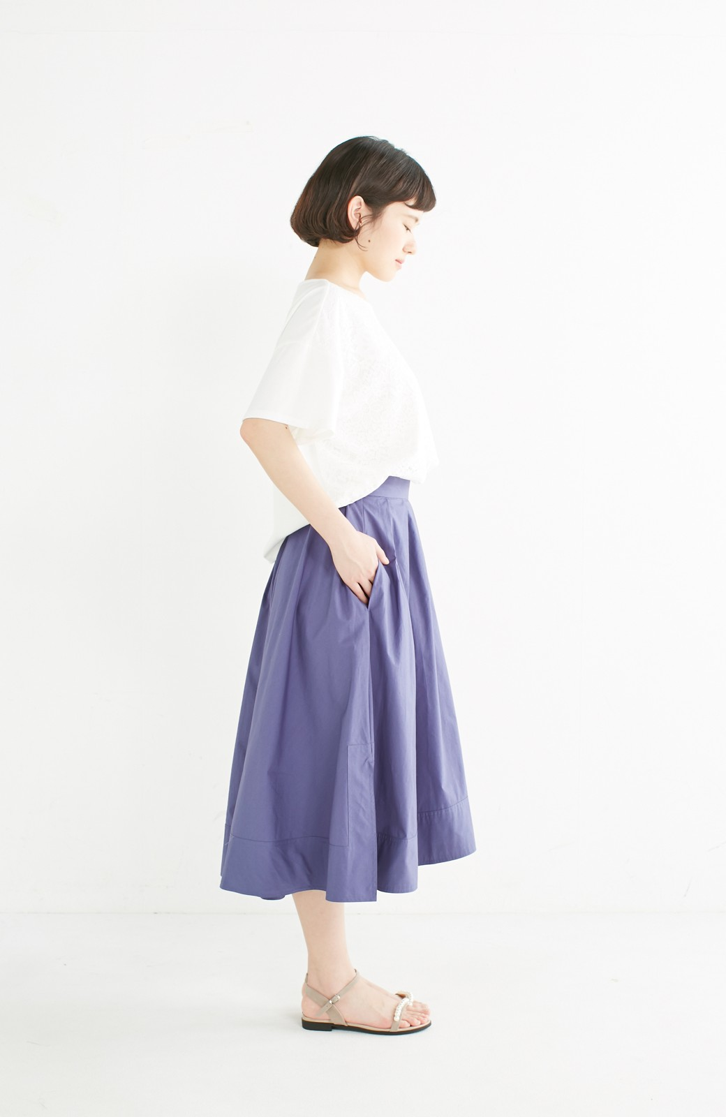 エムトロワ きれい色のイレギュラーヘムスカート <ブルー>の商品写真11