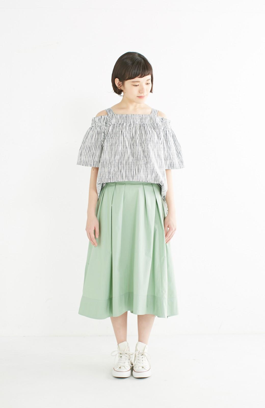 エムトロワ きれい色のイレギュラーヘムスカート <グリーン>の商品写真9