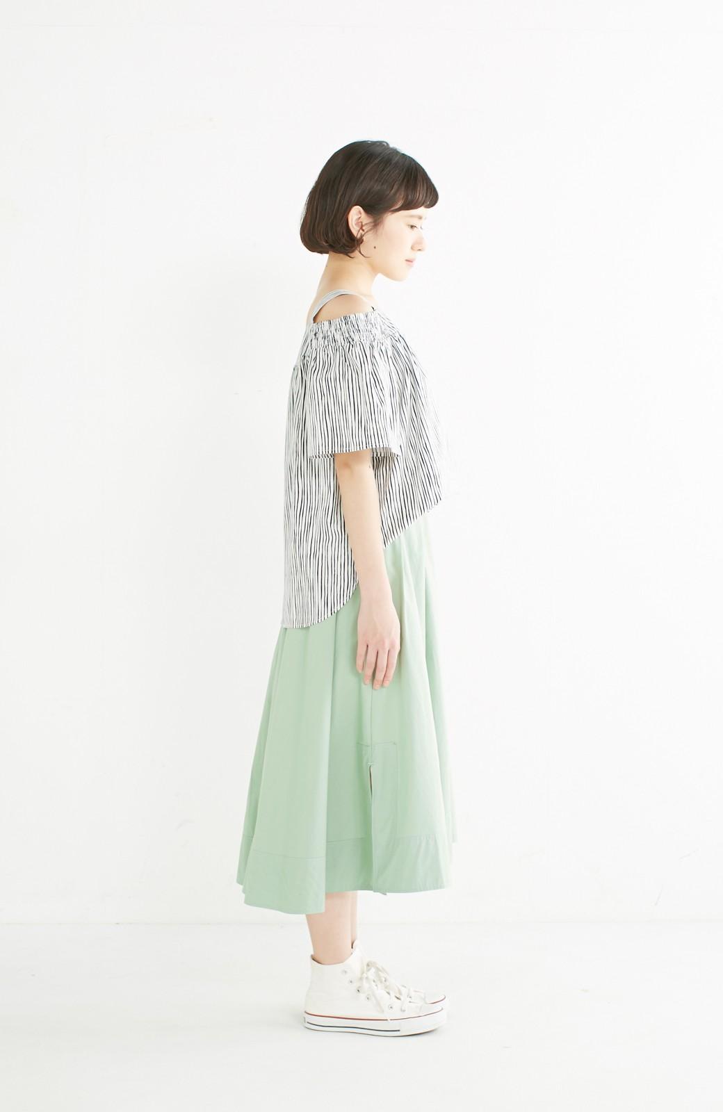 エムトロワ きれい色のイレギュラーヘムスカート <グリーン>の商品写真11