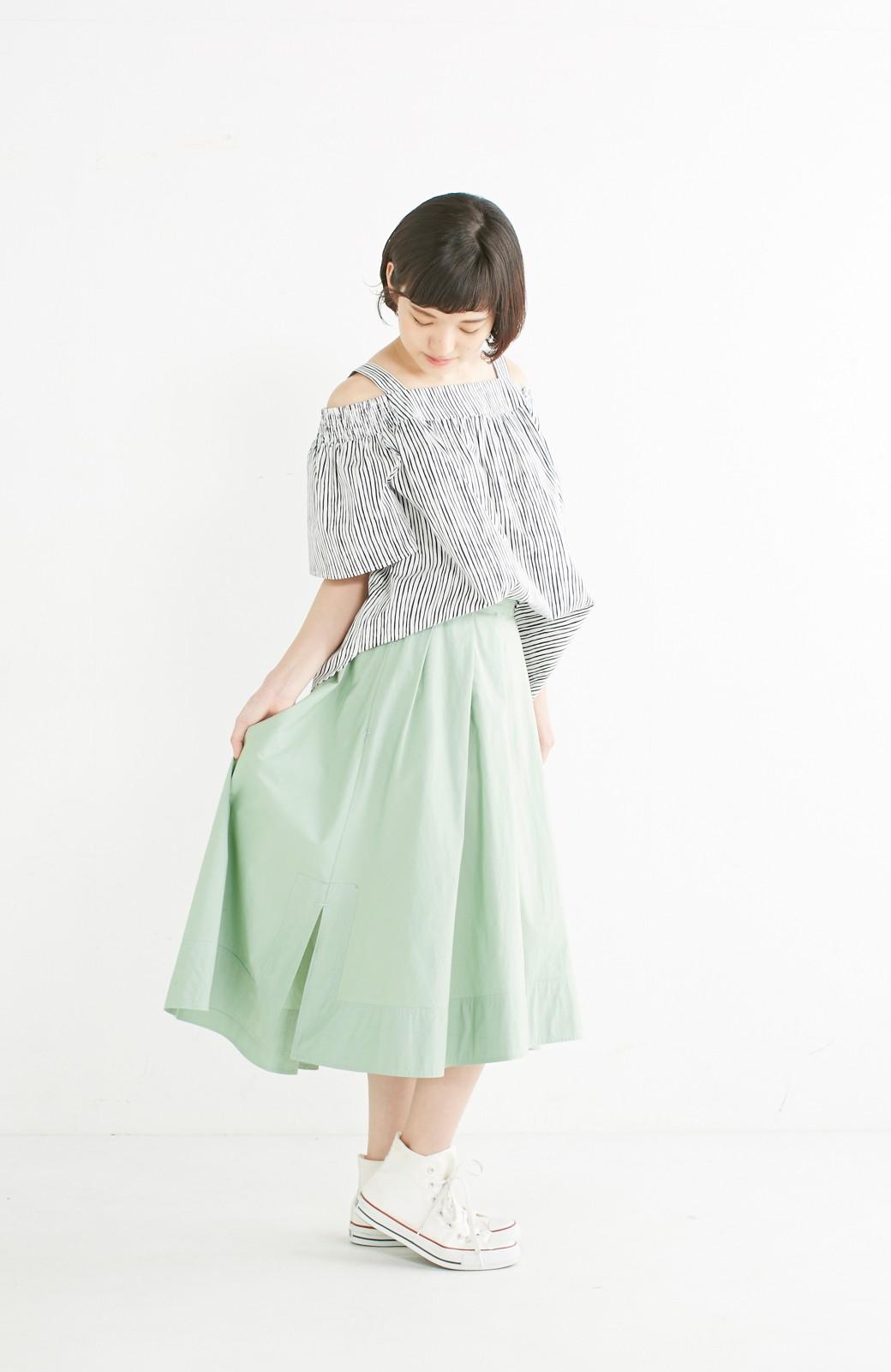 エムトロワ きれい色のイレギュラーヘムスカート <グリーン>の商品写真12