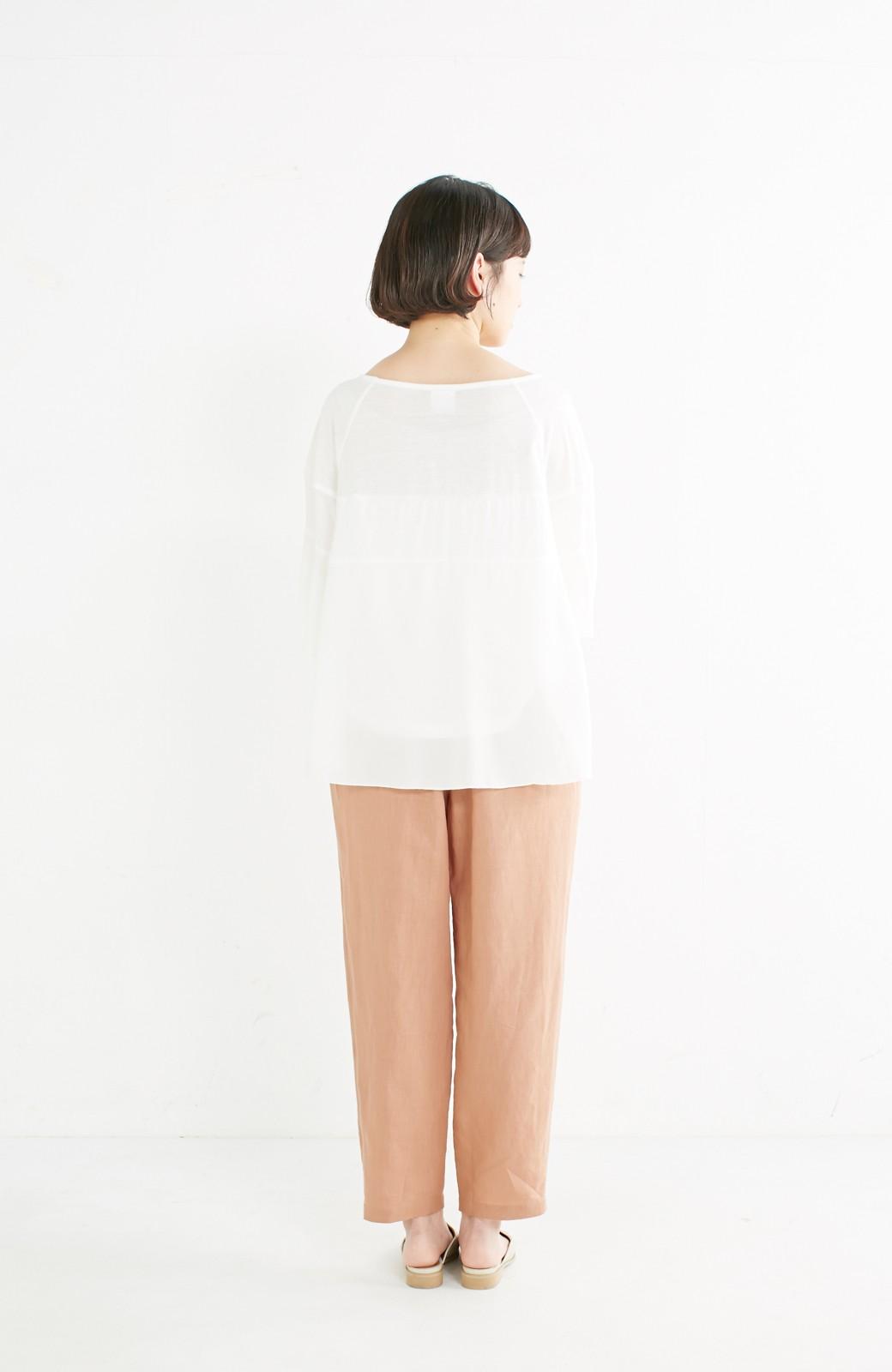 nusy 着るほどになじむ 綿麻素材のテーパードパンツ <ピンクベージュ>の商品写真10