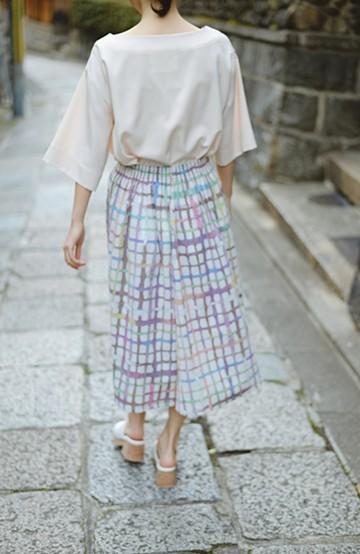haco! 【コラボ3年目!】京都の浴衣屋さんと作った浴衣生地のスカート <ベージュ系その他>の商品写真