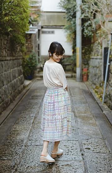 haco! 【今年も再販!】京都の浴衣屋さんと作った浴衣生地のスカート <ベージュ系その他>の商品写真