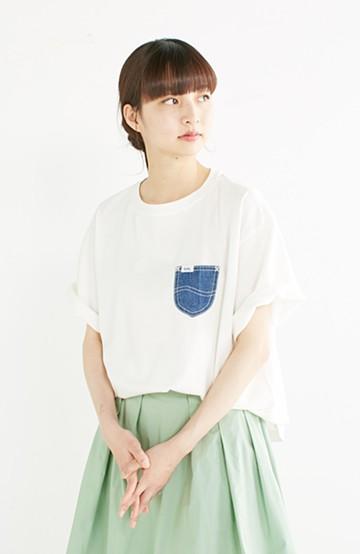 haco! 別注 Lee デニムポケットゆるTシャツ <ホワイト>の商品写真