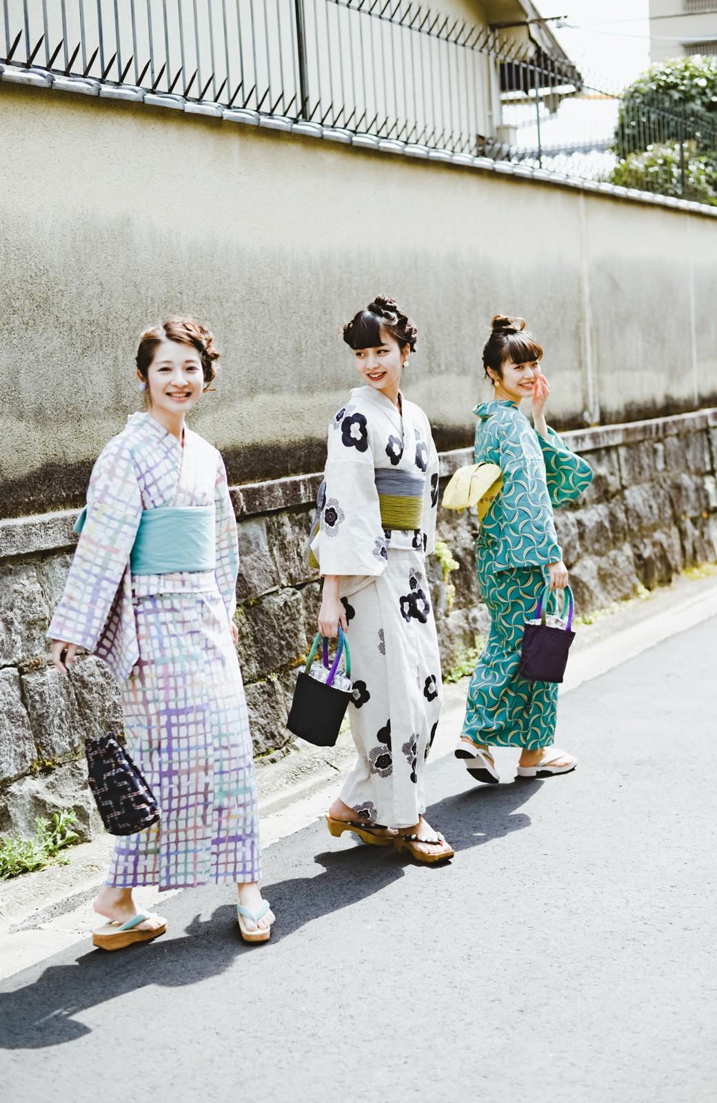 haco! ひでや工房 京都のからみ織ジャカード浴衣 <ブラック系その他>の商品写真24