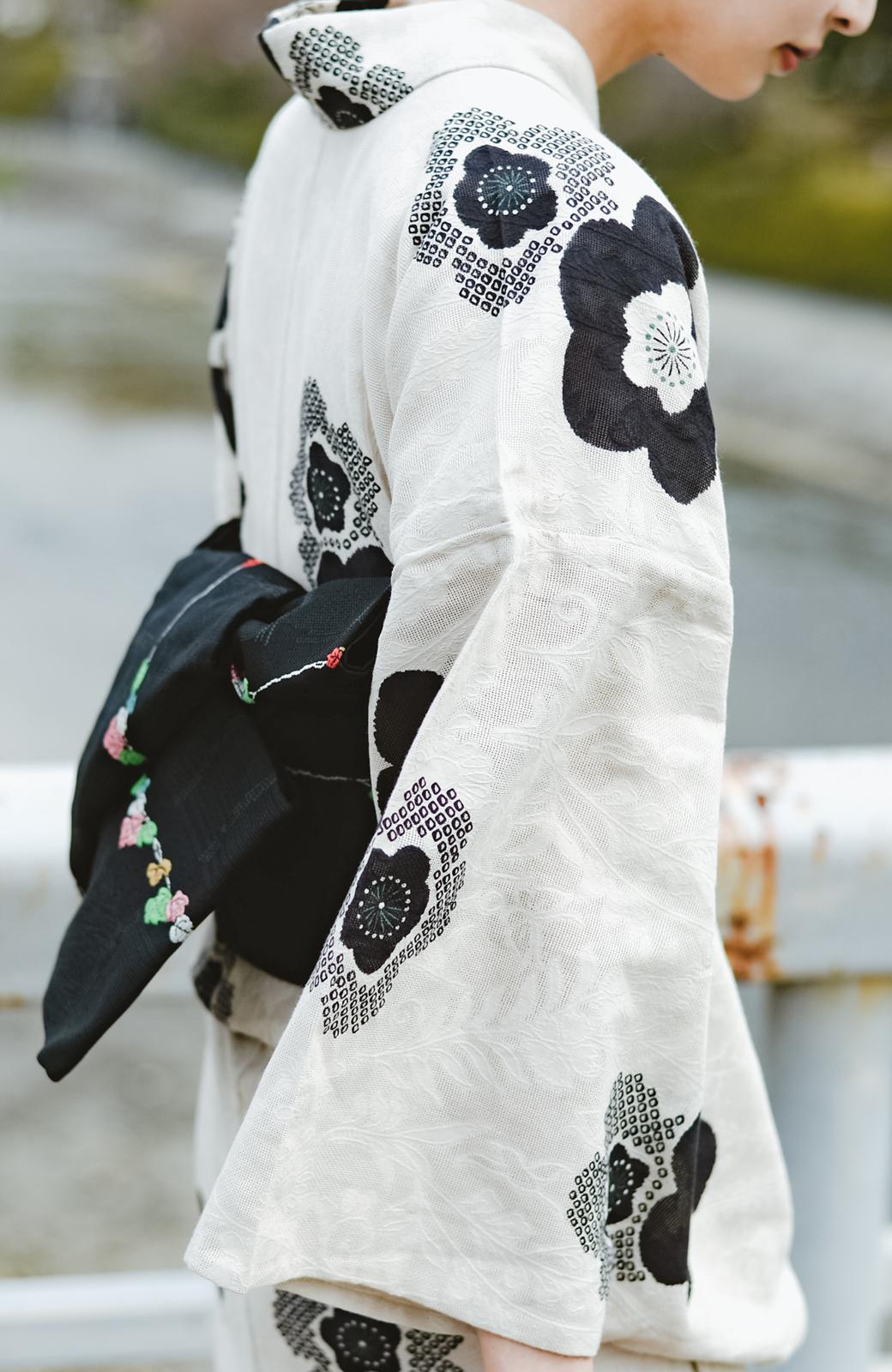 haco! ひでや工房 京都のからみ織ジャカード浴衣 <ブラック系その他>の商品写真6