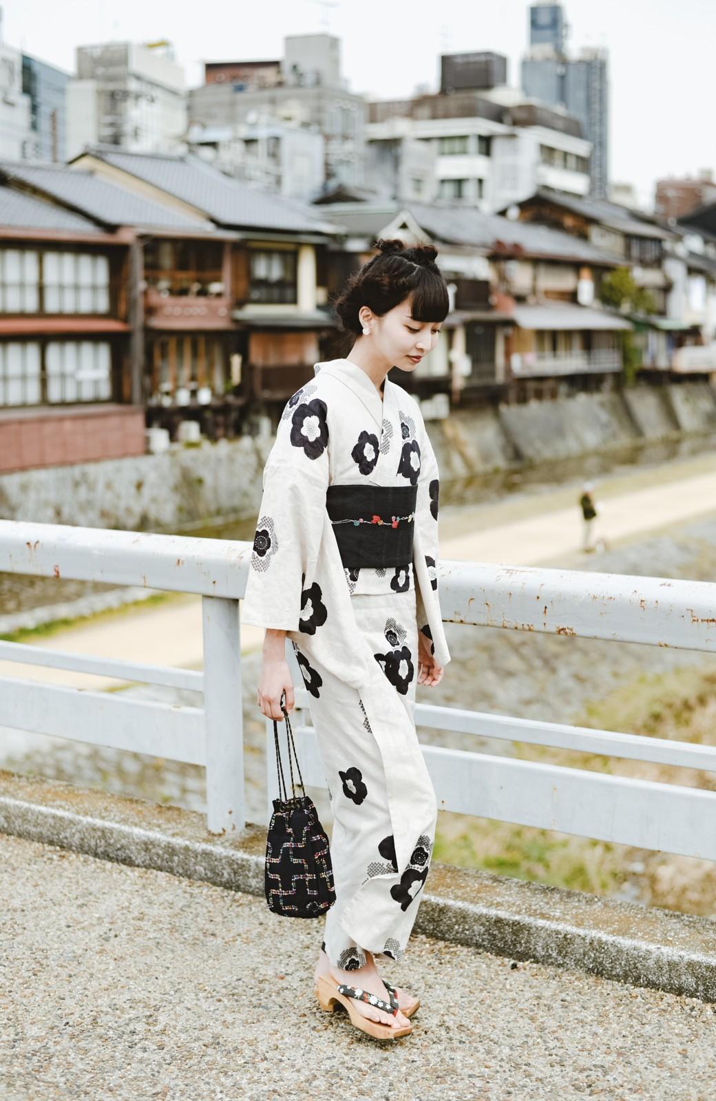haco! ひでや工房 京都のからみ織ジャカード浴衣 <ブラック系その他>の商品写真7
