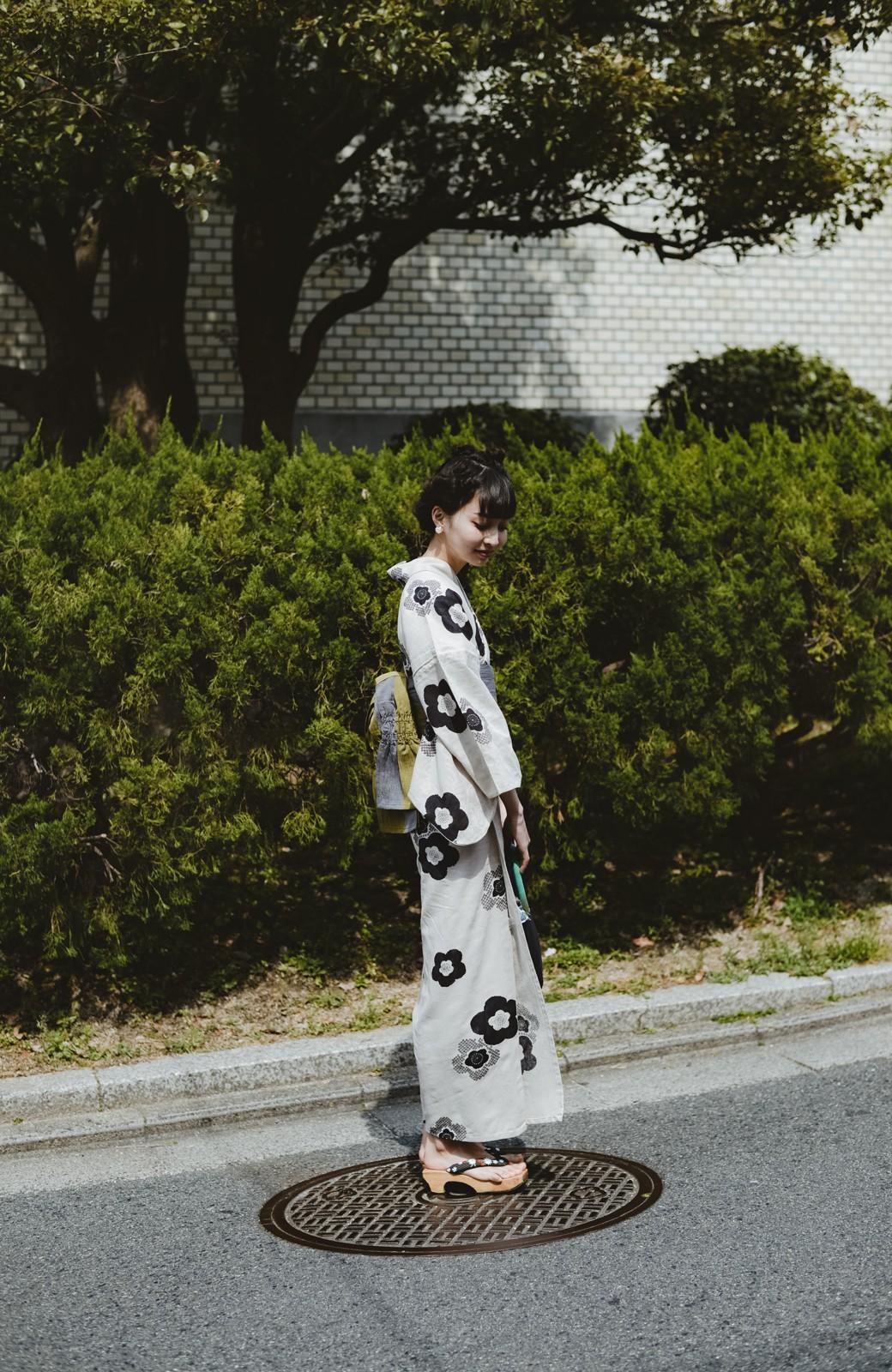 haco! ひでや工房 京都のからみ織ジャカード浴衣 <ブラック系その他>の商品写真44