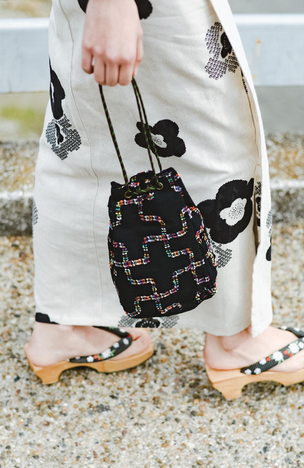 haco! ひでや工房 京都のからみ織ジャカード浴衣 <ブラック系その他>の商品写真8