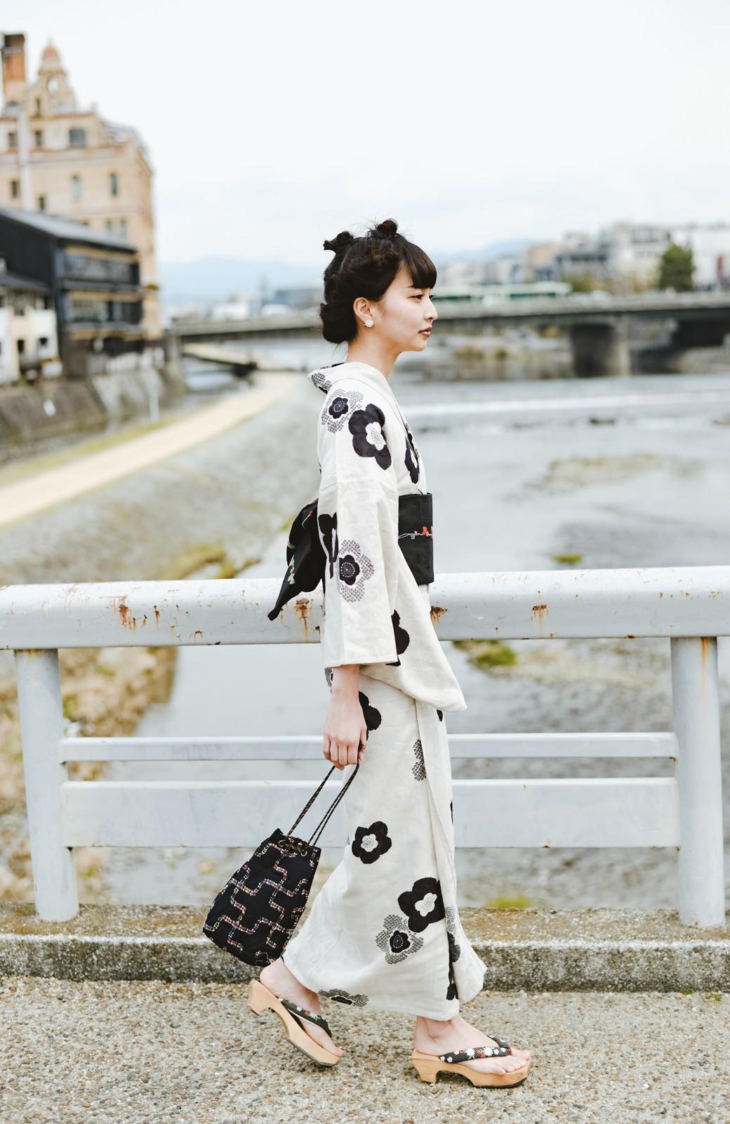 haco! ひでや工房 京都のからみ織ジャカード浴衣 <ブラック系その他>の商品写真9