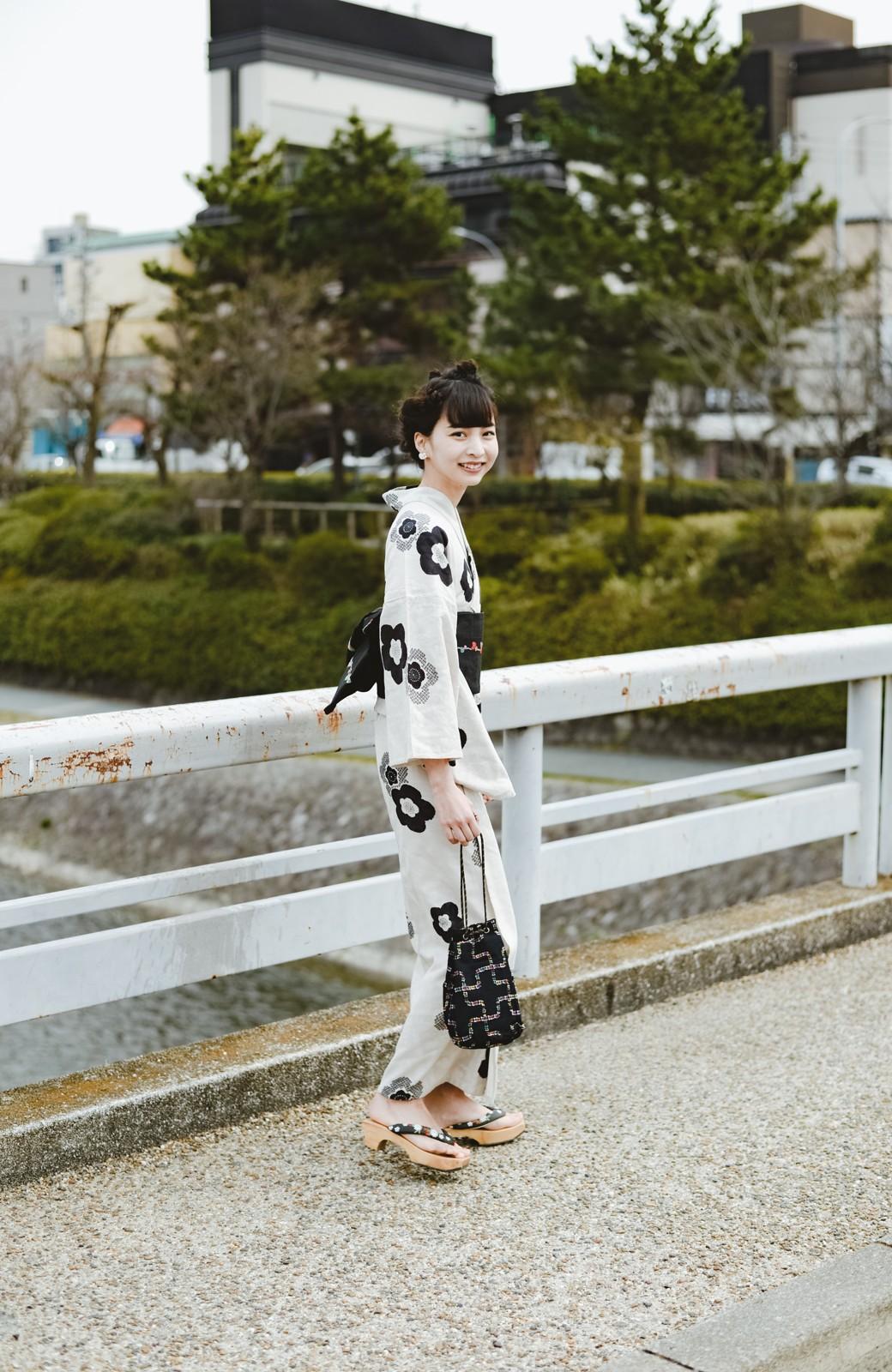 haco! ひでや工房 京都のからみ織ジャカード浴衣 <ブラック系その他>の商品写真10
