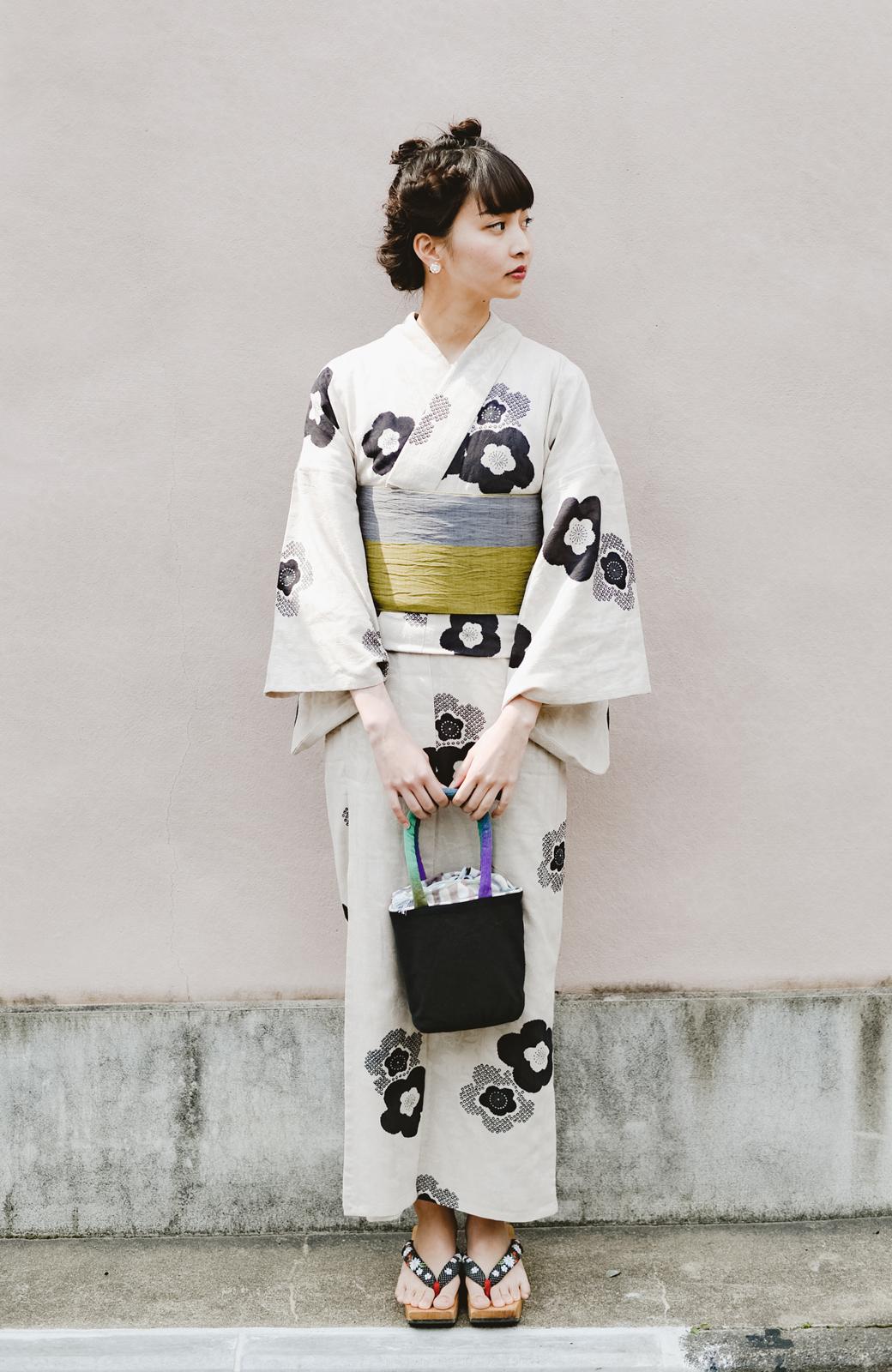 haco! ひでや工房 京都のからみ織ジャカード浴衣 <ブラック系その他>の商品写真1