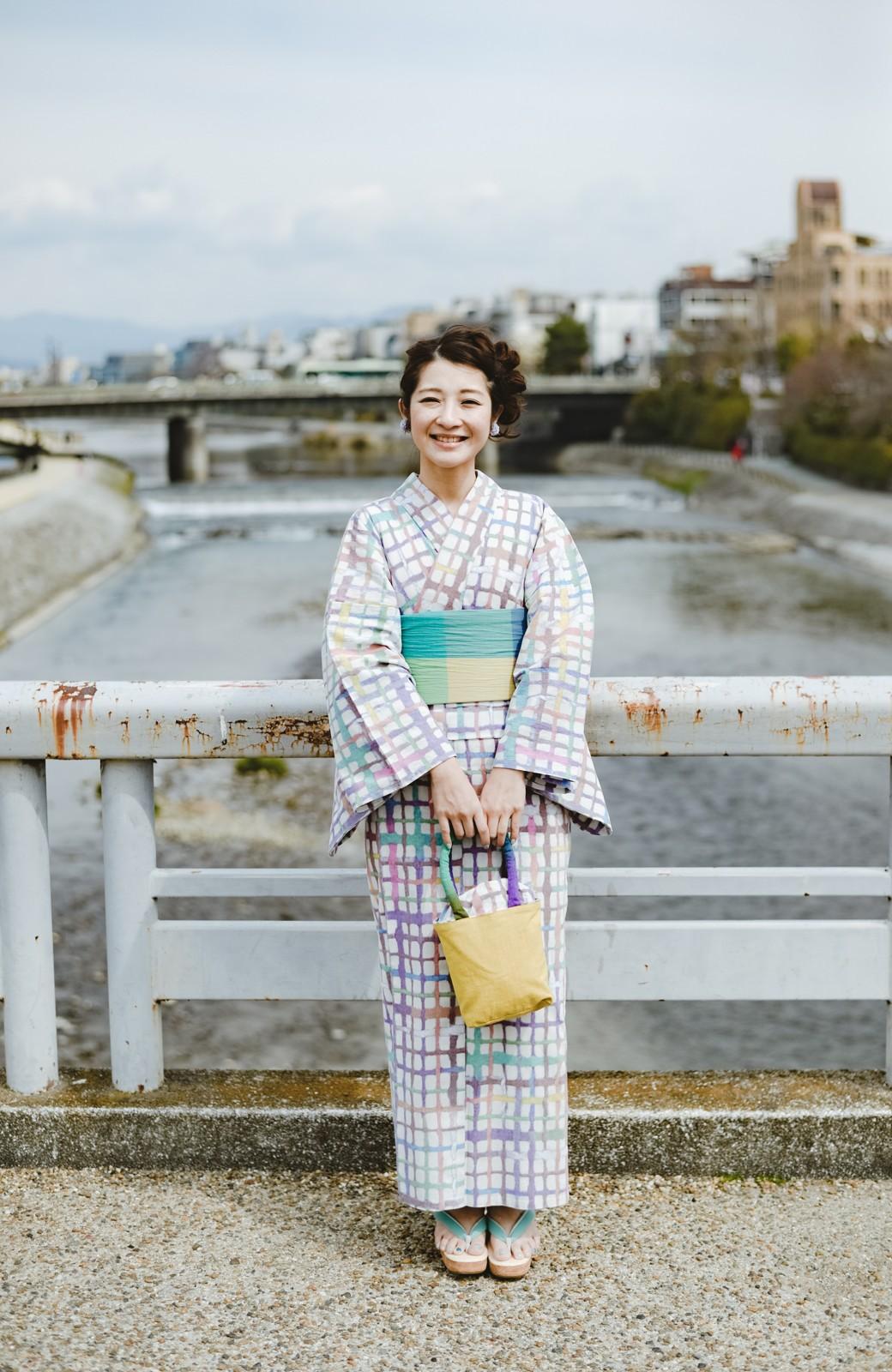 haco! ひでや工房 京都の綿ちりめん浴衣 <ベージュ系その他>の商品写真16