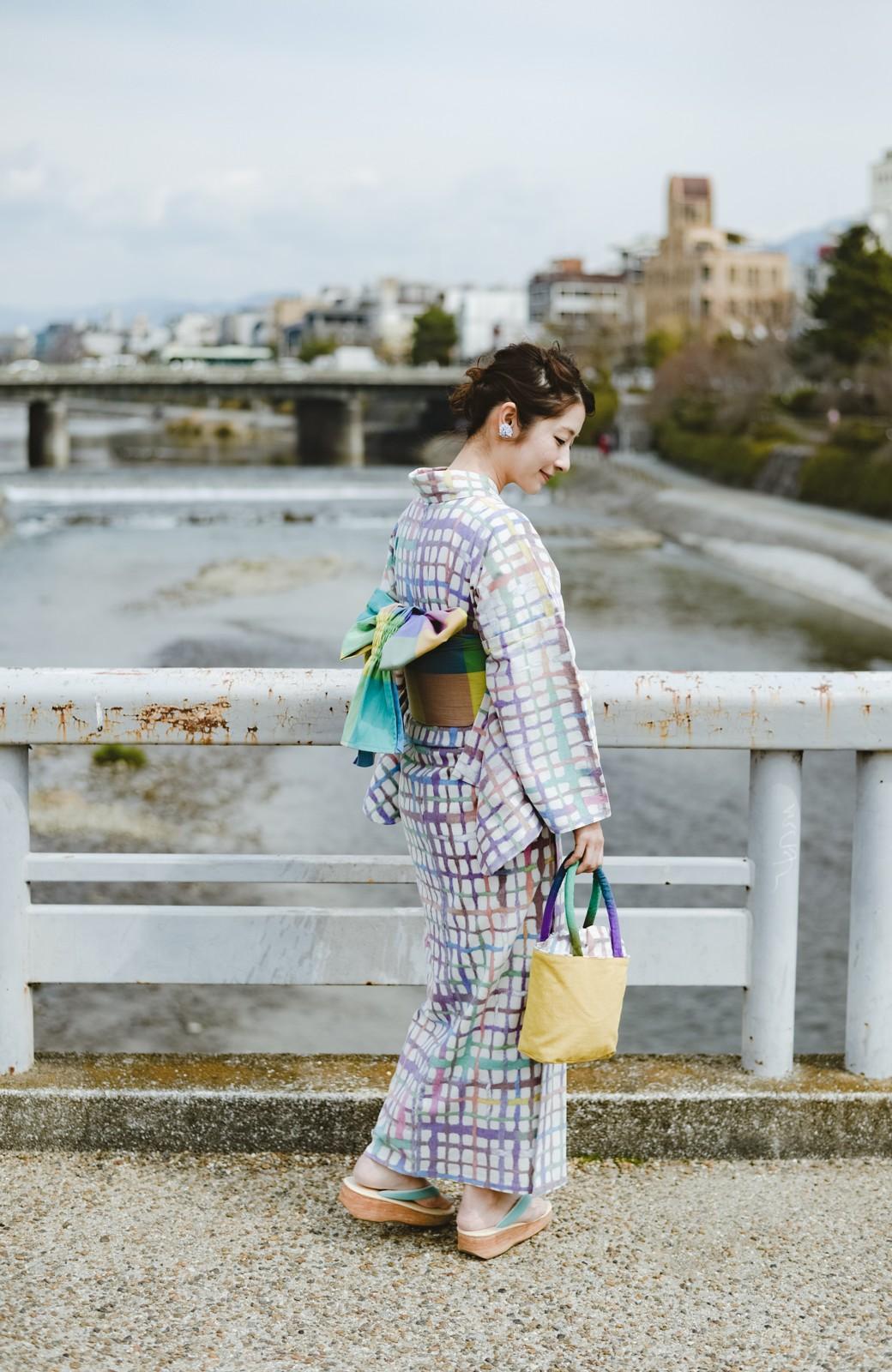 haco! ひでや工房 京都の綿ちりめん浴衣 <ベージュ系その他>の商品写真18