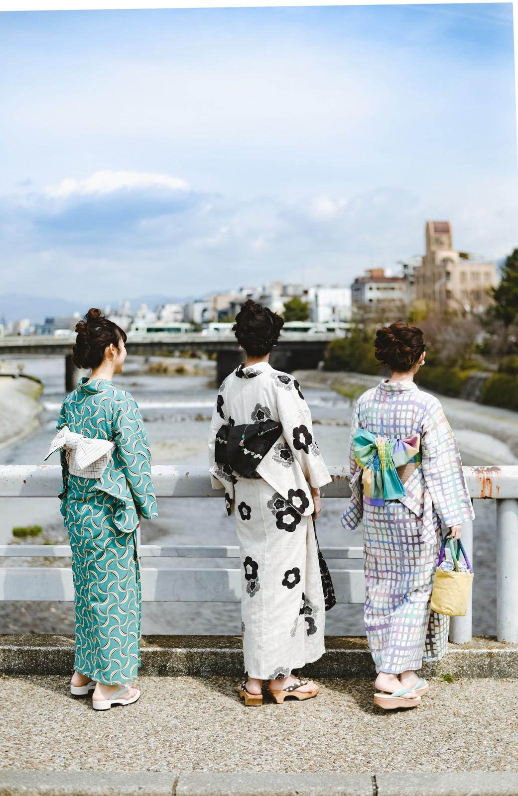 haco! ひでや工房 京都の綿ちりめん浴衣 <ベージュ系その他>の商品写真23