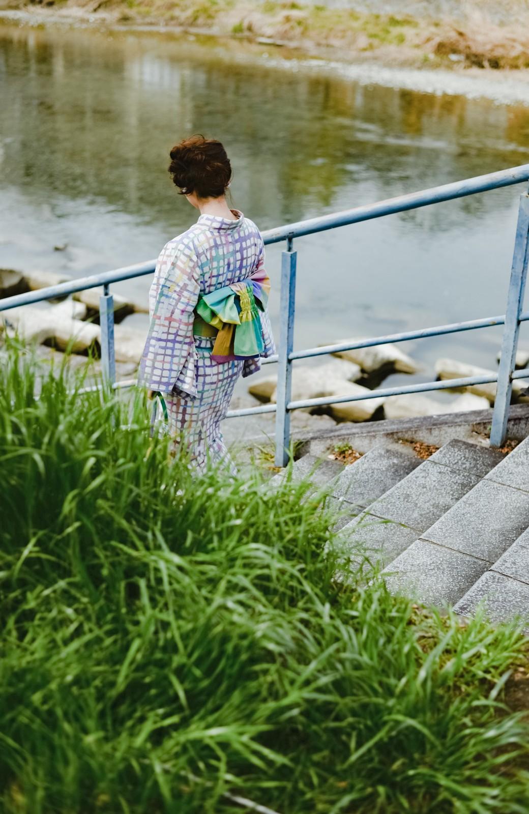 haco! ひでや工房 京都の綿ちりめん浴衣 <ベージュ系その他>の商品写真38