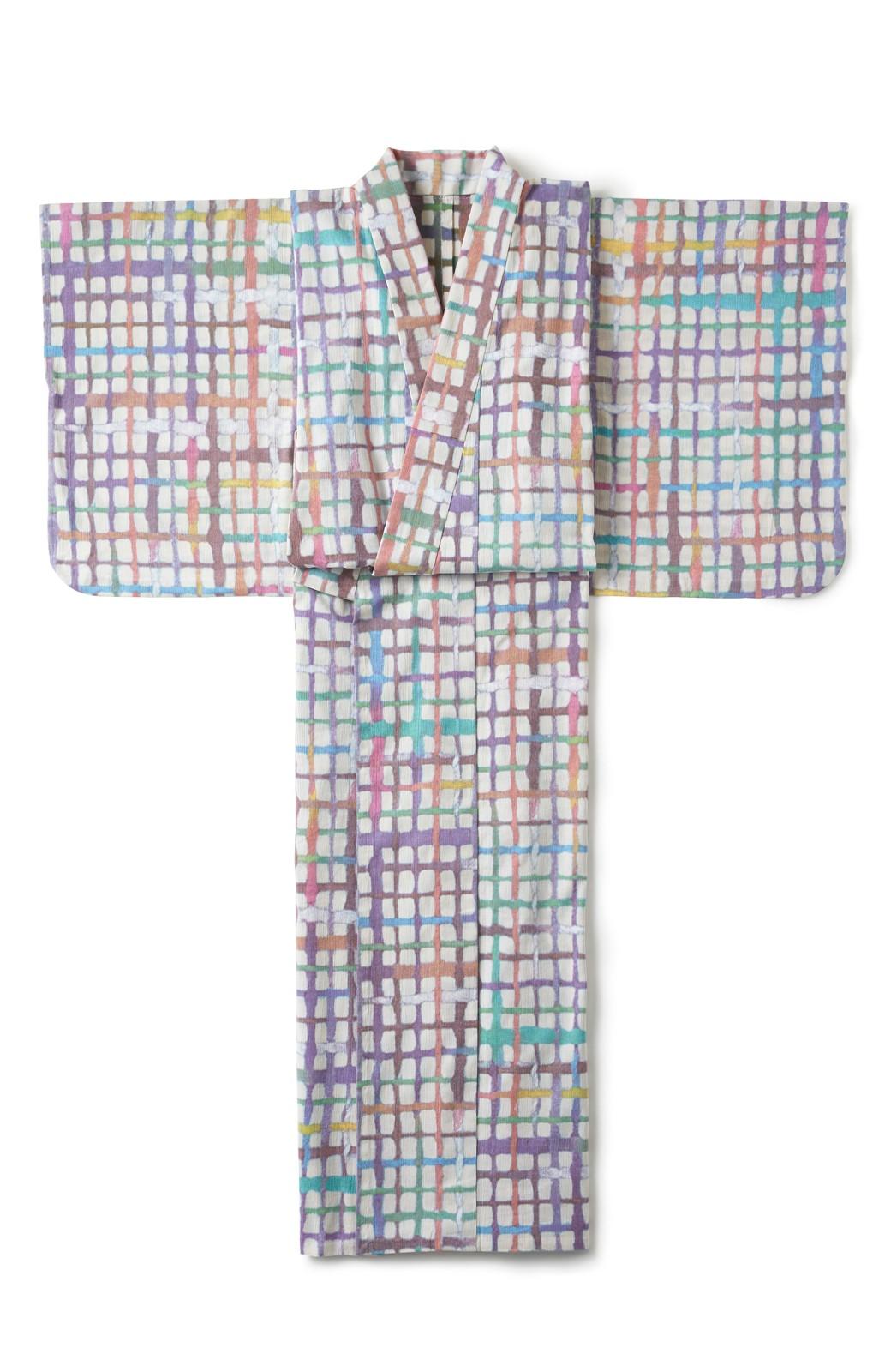 haco! ひでや工房 京都の綿ちりめん浴衣 <ベージュ系その他>の商品写真2