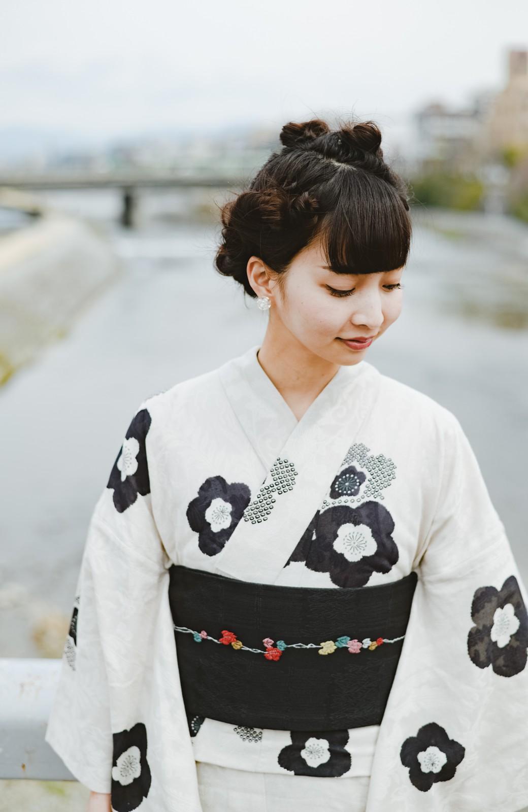 haco! ひでや工房 京都の半巾帯 つた柄 <ブラック>の商品写真2