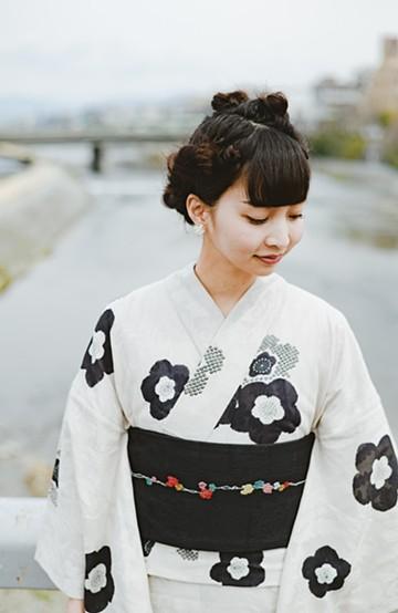 haco! ひでや工房 京都の半巾帯 つた柄 <ブラック>の商品写真