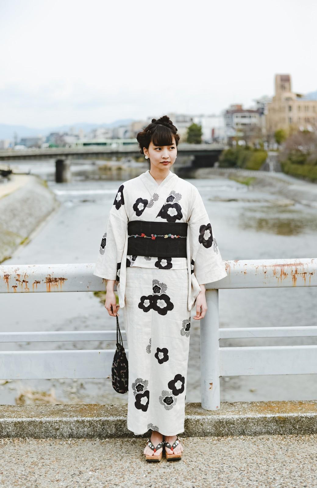 haco! ひでや工房 京都の半巾帯 つた柄 <ブラック>の商品写真6