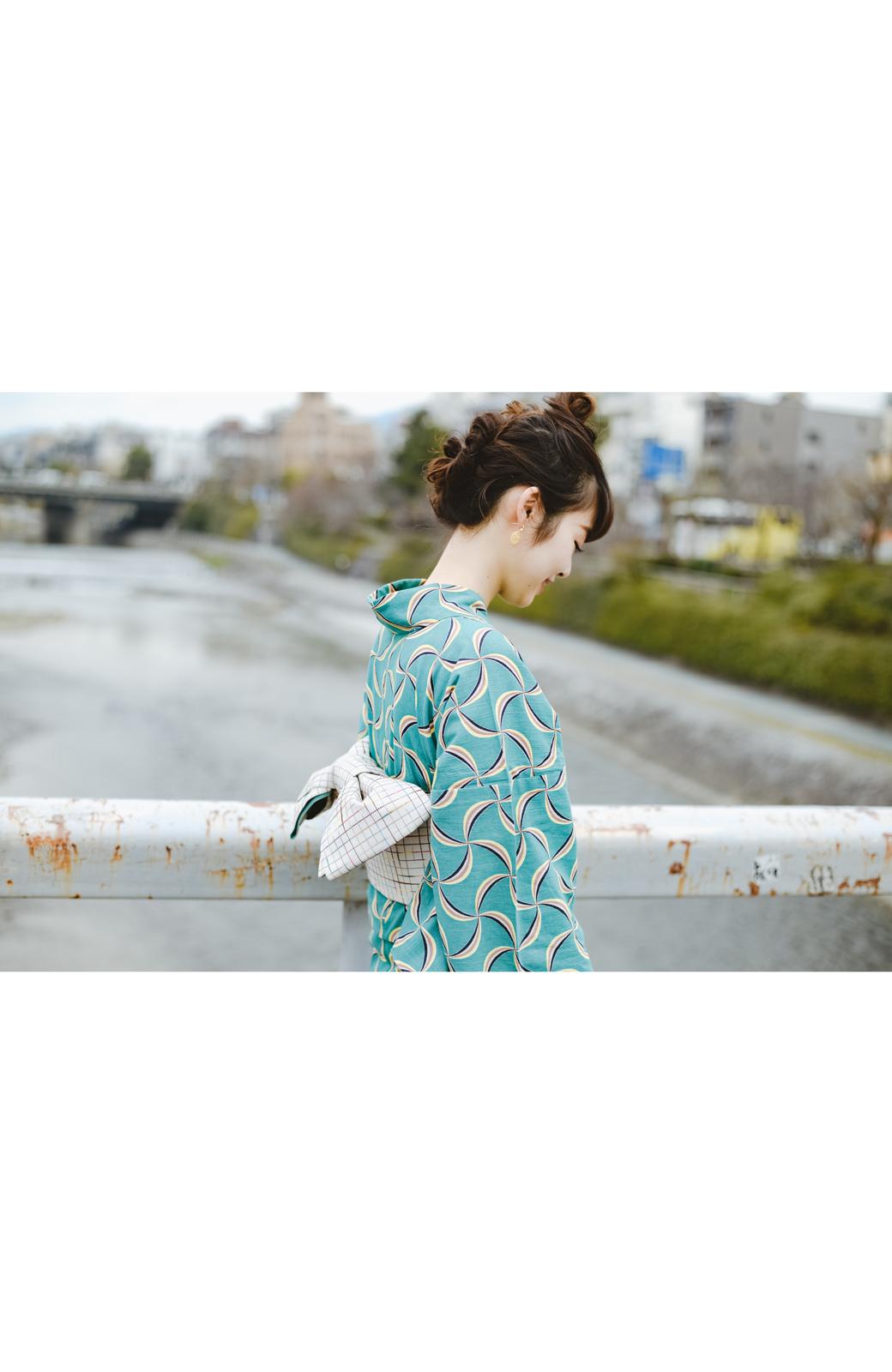 haco! ひでや工房 京都の綿ちりめん浴衣 <グリーン系その他>の商品写真14