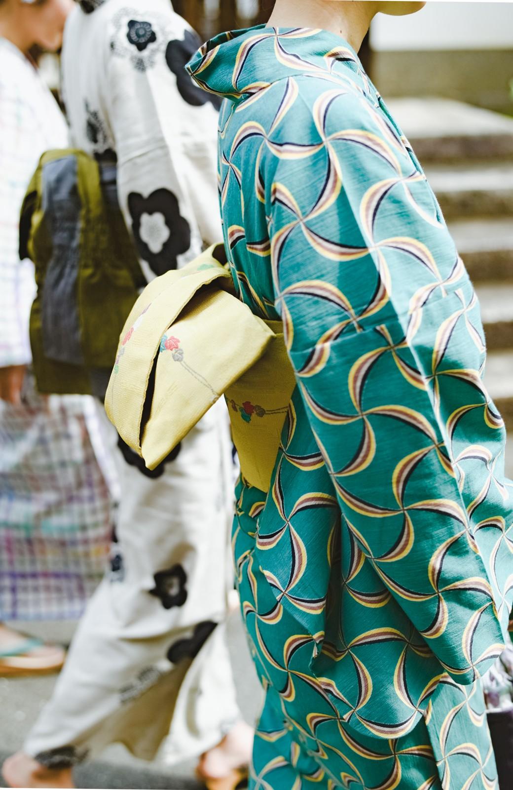 haco! ひでや工房 京都の綿ちりめん浴衣 <グリーン系その他>の商品写真4