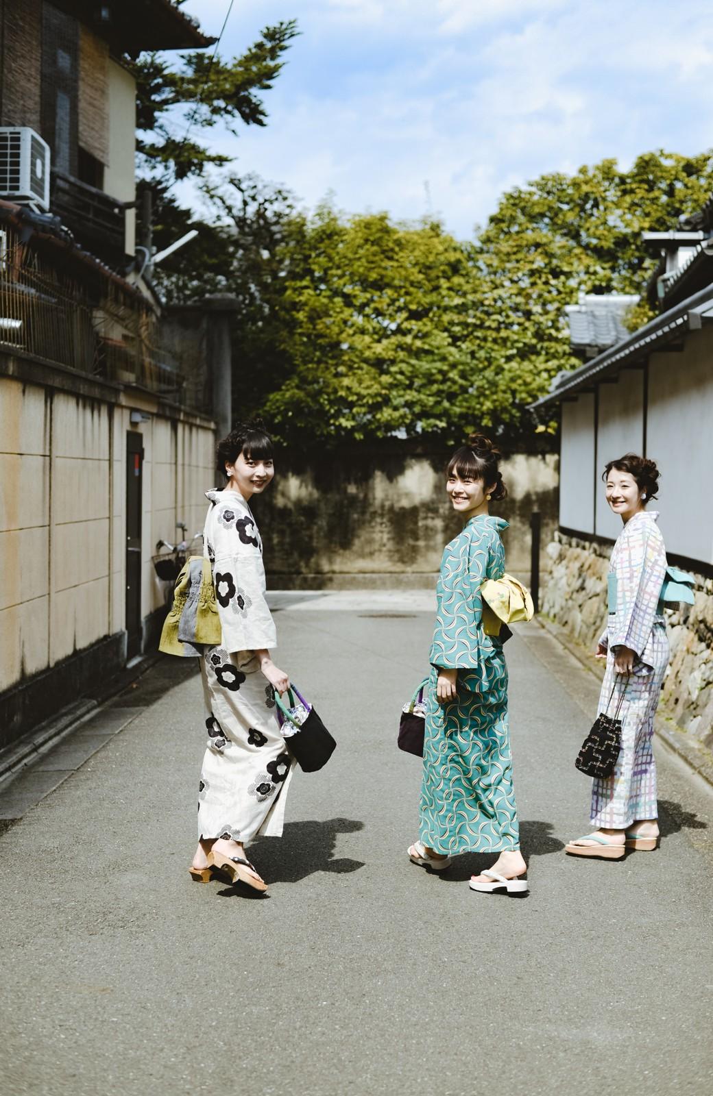 haco! ひでや工房 京都の綿ちりめん浴衣 <グリーン系その他>の商品写真22