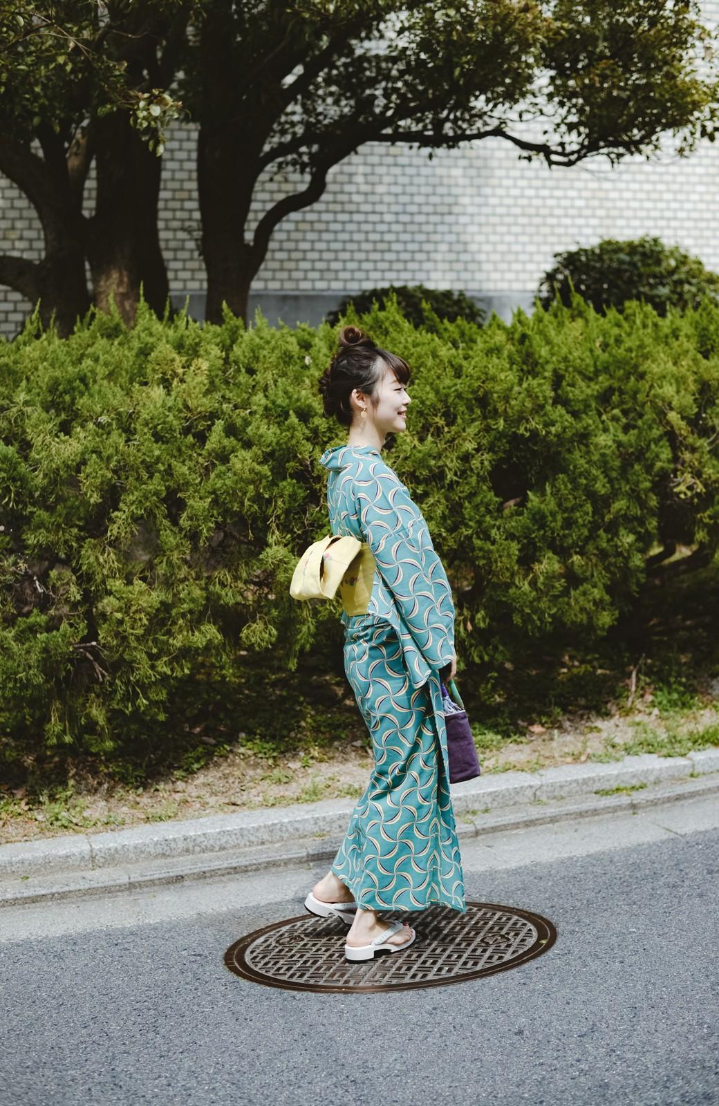 haco! ひでや工房 京都の綿ちりめん浴衣 <グリーン系その他>の商品写真30