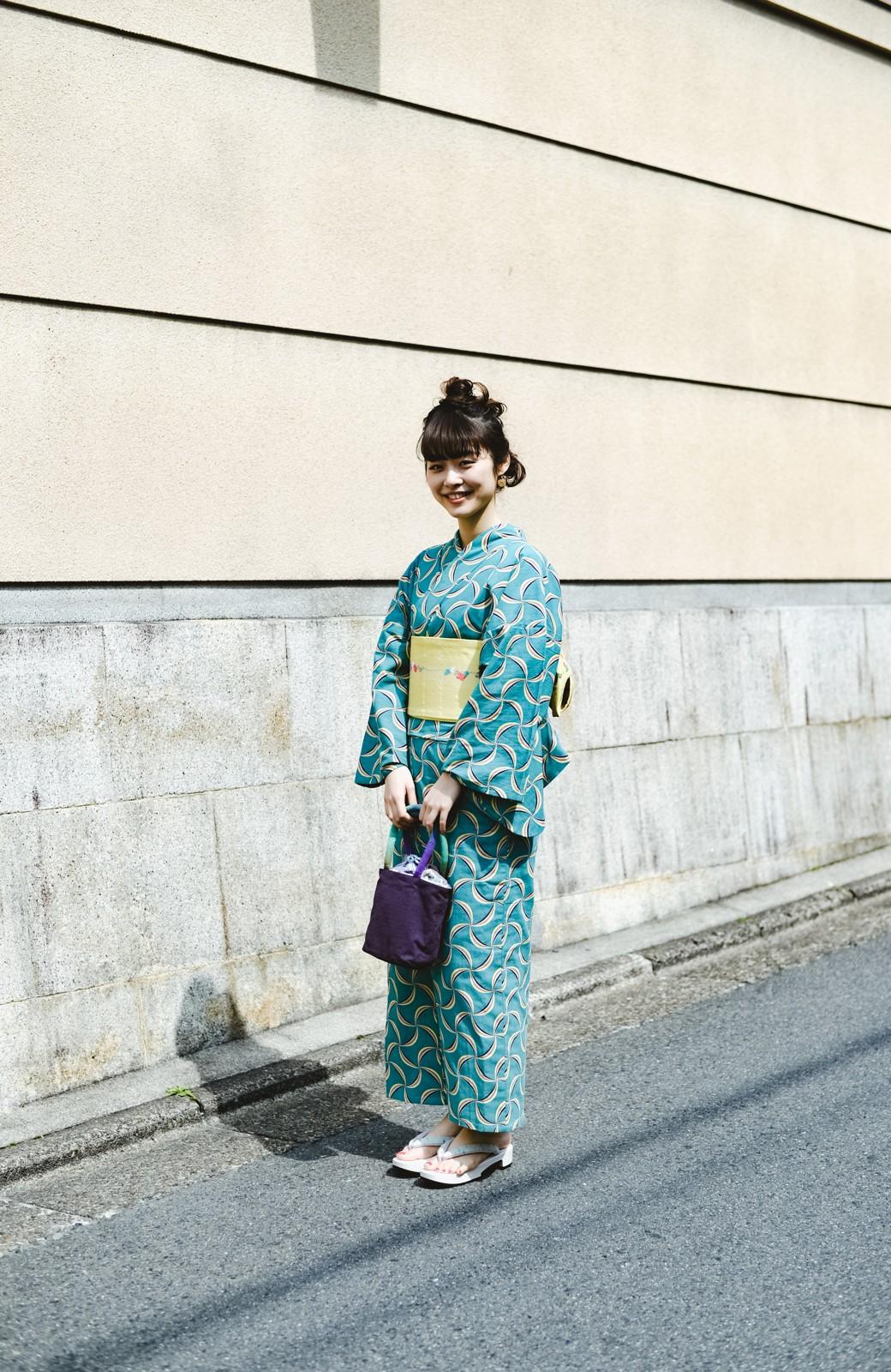 haco! ひでや工房 京都の綿ちりめん浴衣 <グリーン系その他>の商品写真31