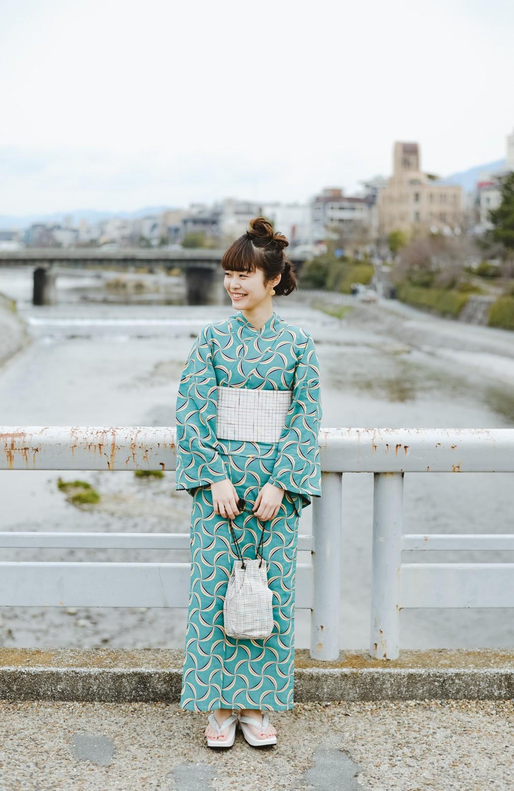 haco! ひでや工房 京都の綿ちりめん浴衣 <グリーン系その他>の商品写真8