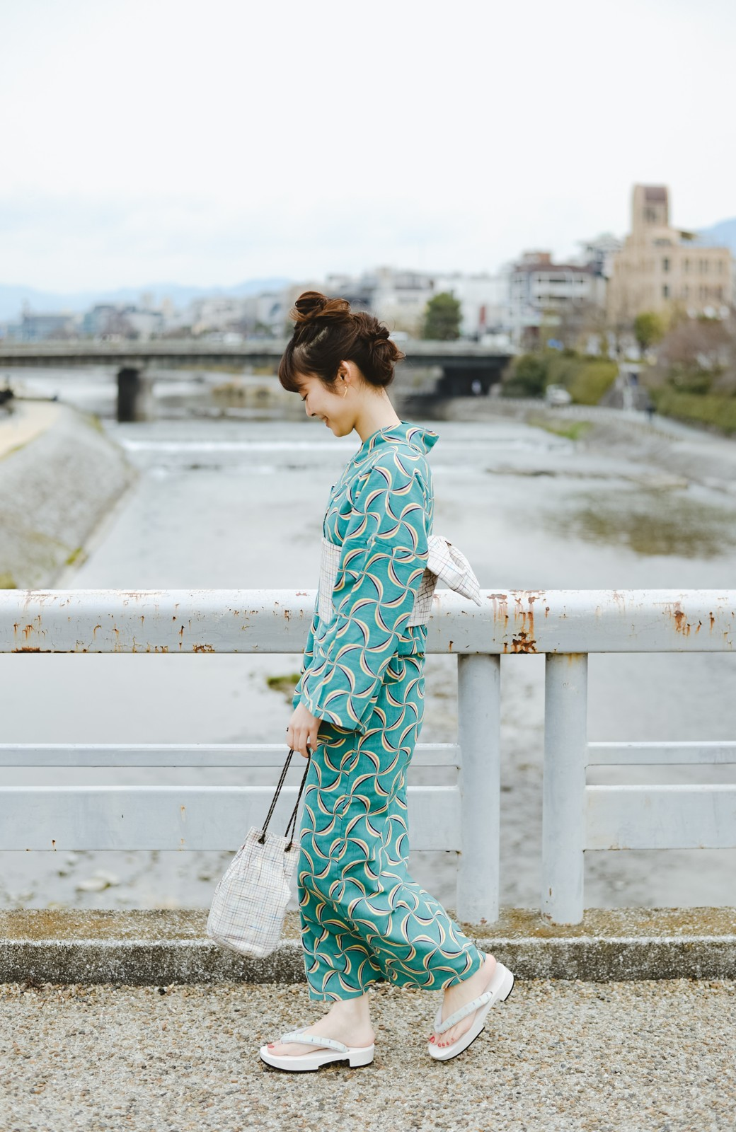 haco! ひでや工房 京都の綿ちりめん浴衣 <グリーン系その他>の商品写真9