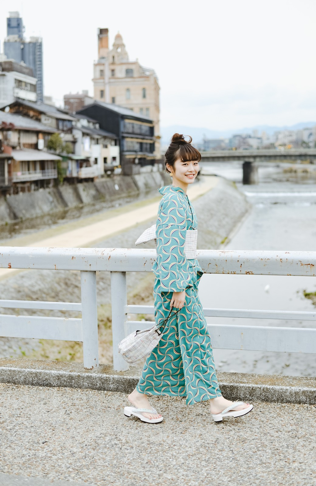 haco! ひでや工房 京都の綿ちりめん浴衣 <グリーン系その他>の商品写真10