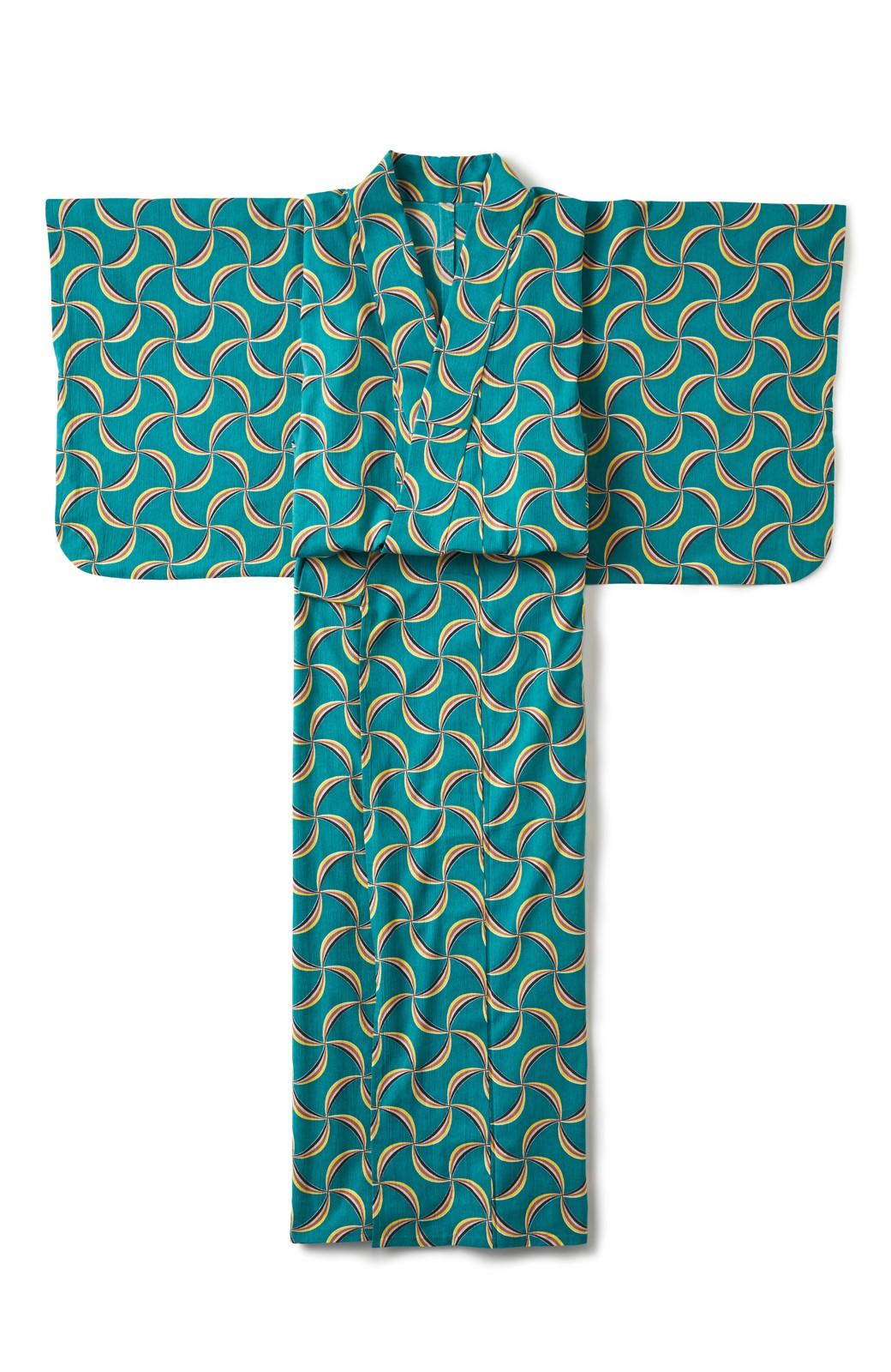 haco! ひでや工房 京都の綿ちりめん浴衣 <グリーン系その他>の商品写真2