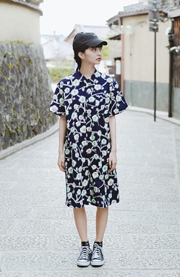 haco! 京都の浴衣屋さんと作った浴衣生地のシャツワンピース <ブルー系その他>の商品写真